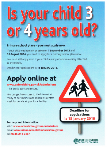 Application for primary school places, Shipton Under Wychwood Parish Council