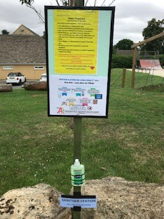 Poster displaying Covid-19 rules at Shipton playground